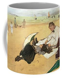 Beach Scene Little Girl Having Her Hair Combed By Her Nanny Coffee Mug