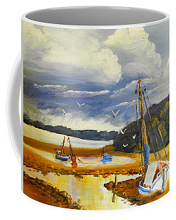 Coffee Mug featuring the painting Beached Boat And Fishing Boat At Gippsland Lake by Pamela  Meredith