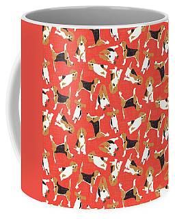 Beagle Scatter Coral Red Coffee Mug