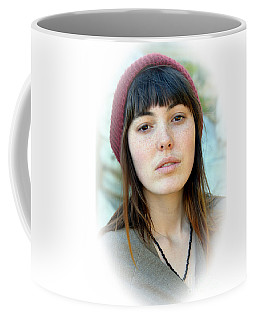 Coffee Mug featuring the photograph Beautiful Freckle Faced Model Fade Out Version by Jim Fitzpatrick