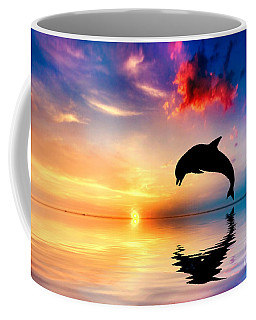 Beautiful Ocean And Sunset With Dolphin Jumping Coffee Mug