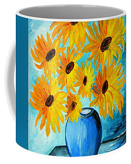 Coffee Mug featuring the painting Beautiful Sunflowers In Blue Vase by Ramona Matei
