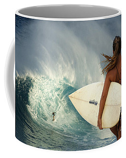 Surfer Girl Meets Jaws Coffee Mug by Bob Christopher