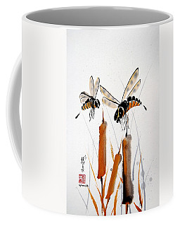 Coffee Mug featuring the painting Bee-ing Present by Bill Searle