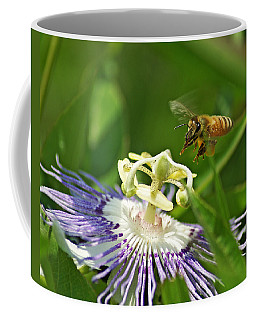 Bee On Passionflower Coffee Mug