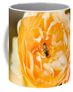 Bee Pollinating A Yellow Rose, Beverly Coffee Mug