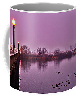 Coffee Mug featuring the photograph Before Sunrise On The Bridge by Lynn Hopwood