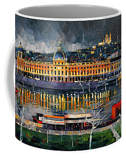 Before The Storm - View On Hotel Dieu Lyon And The Rhone France Coffee Mug