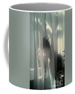 Coffee Mug featuring the photograph Behind The Curtain by Jacqueline McReynolds