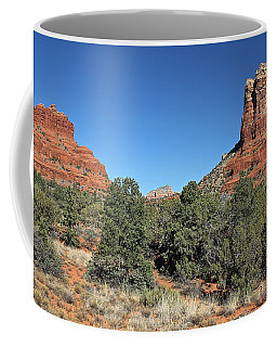 Coffee Mug featuring the photograph Bell Rock And Courthouse Butte by Penny Meyers
