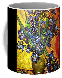 Coffee Mug featuring the painting Belle's Pot Of Fiery Irises by Belinda Low