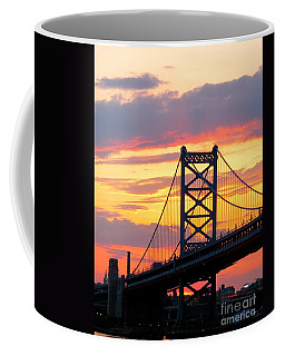 Ben Franklin Bridge At Sunset  Coffee Mug by Nancy Patterson