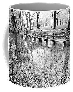 Coffee Mug featuring the photograph Benches Reflection Poets Walk by Dave Beckerman