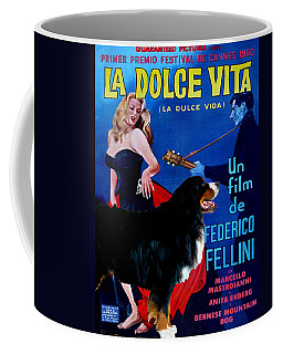 Bernese Mountain Dog Art Canvas Print - La Dolce Vita Movie Poster Coffee Mug