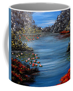 Beyond The Bridge At Lily Pond Coffee Mug by Darren Robinson
