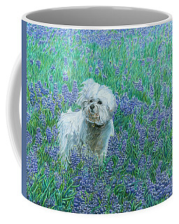 Coffee Mug featuring the drawing Bichon In The Bluebonnets by Dominic White