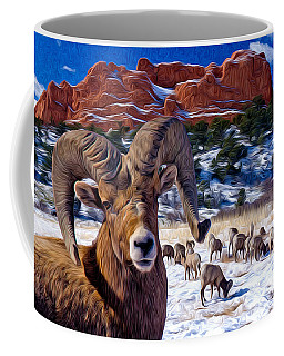 Big Horn Sheep At The Garden Coffee Mug