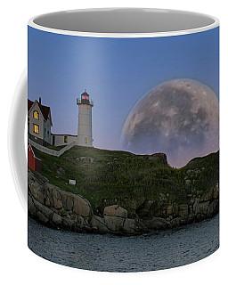 Big Moon Over Nubble Lighthouse Coffee Mug