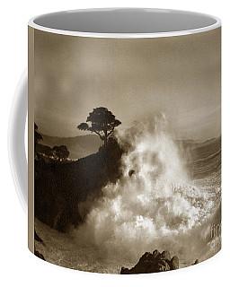 Big Wave Hitting The Lone Cypress Tree Pebble Beach California 1916 Coffee Mug