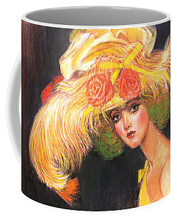Coffee Mug featuring the painting Big Yellow Fashion Hat by Sue Halstenberg