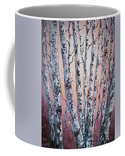 Birch Trees At Sunset Coffee Mug by Megan Walsh