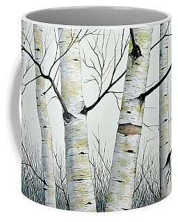 Birch Trees In The Forest In Watercolor Coffee Mug