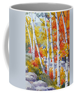 Birches Along The River Coffee Mug
