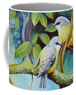 Coffee Mug featuring the painting Birds by Elena Oleniuc