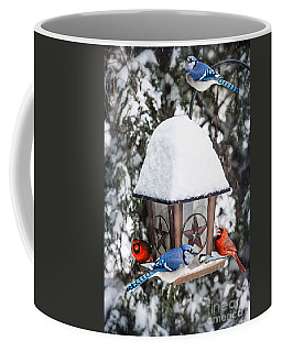 Birds On Bird Feeder In Winter Coffee Mug