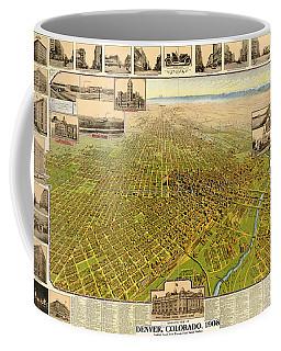 Birdseye Map Of Denver Colorado - 1908 Coffee Mug by Eric Glaser