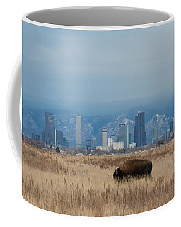 Bison Graze With Denver Colorado In The Background Coffee Mug