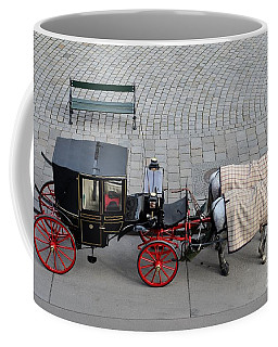 Coffee Mug featuring the photograph Black And Red Horse Carriage - Vienna Austria  by Imran Ahmed