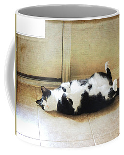 Black And White Cat Reclining Coffee Mug
