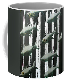 Coffee Mug featuring the painting Black And White Fish by Joan Stratton