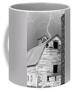 Black And White Old Barn Lightning Strikes Coffee Mug