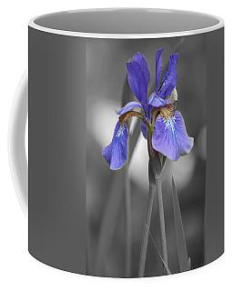 Black And White Purple Iris Coffee Mug