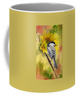Black Capped Chickadee Checking Out The Sunflowers Coffee Mug