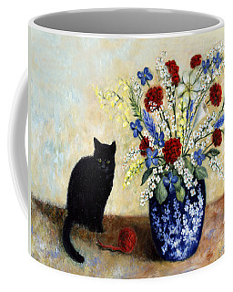 Coffee Mug featuring the painting Black Cat by Lynn Buettner