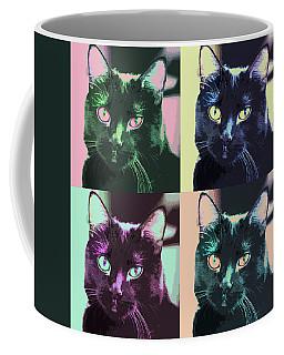 Black Cat Pop Art 2 Coffee Mug by Susan Stone