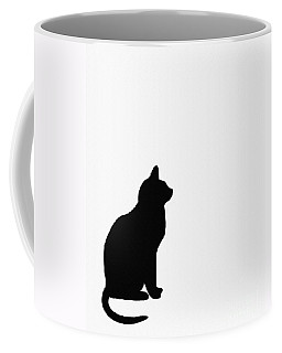 Black Cat Silhouette On A White Background Coffee Mug