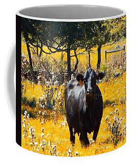 Black Cow And Field Flowers Coffee Mug