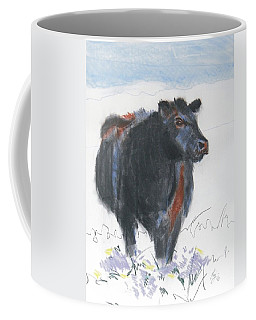 Black Cow Drawing Coffee Mug