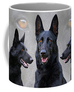 Black German Shepherd Dog Collage Coffee Mug by Sandy Keeton