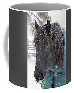 Black Horse In Snow Coffee Mug