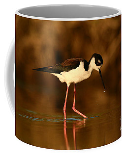 Coffee Mug featuring the photograph Black-necked Stilt Waterdrops by John F Tsumas
