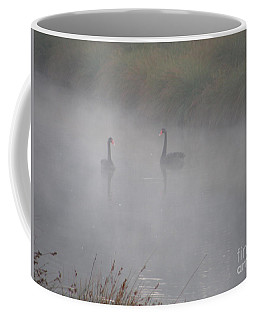 Black Swans In The Fog Coffee Mug by Bev Conover