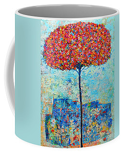 Blooming Beyond Known Skies - The Tree Of Life - Abstract Contemporary Original Oil Painting Coffee Mug