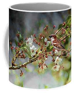 Blossoms And Sparrow Coffee Mug by Elaine Manley