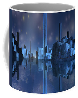Coffee Mug featuring the digital art Blue Alien Harbor City by Judi Suni Hall