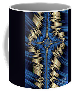 Blue And Gold Cross Abstract Coffee Mug